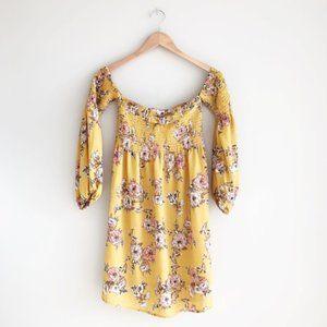 Socialite Off the Shoulder Floral Dress Mustard S